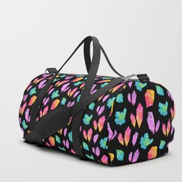 Watercolor Crystals // Black Duffle Bag