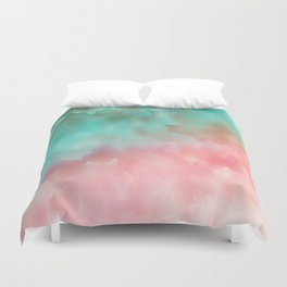 Pink and Green Watercolor Art Duvet Cover