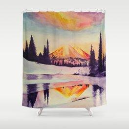 Winter Wonderland in Mount Rainer Shower Curtain