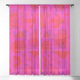 Neon Cutout Print Sheer Curtain