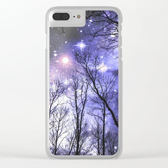 Black Trees Periwinkle Lavender space Clear iPhone Case