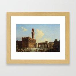 Italian School (early 19th century)  View of Piazza della Signoria, looking towards the Loggia dei L Framed Art Print
