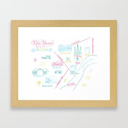 New Orleans, Louisiana Illustrated Calligraphy Map Framed Art Print