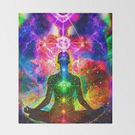 Ohm Chakra Cosmic Psychedelic Yoga Meditation  Throw Blanket