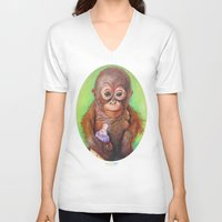 budi V-neck T-shirts featuring Budi the Rescued Baby Orangutan by Alina Bachmann