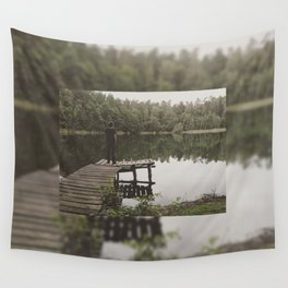 Human loneliness by the lake Wall Tapestry