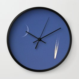 Moon and Jet in the Deep Blue Wall Clock