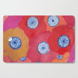 Hippy flowers watercolor Cutting Board