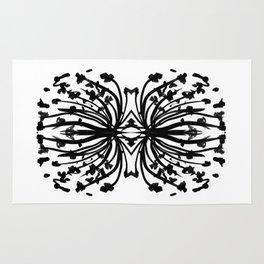 Black and white abstract brushstroke modern minimal monochromatic art print home decor college dorm Rug