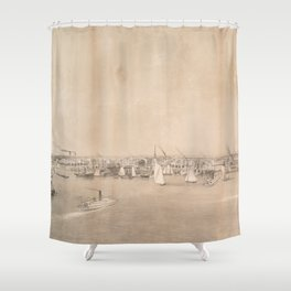 Vintage Pictorial View of Jersey City NJ (1866) Shower Curtain
