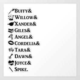Buffy the Vampire Slayer Names Art Print