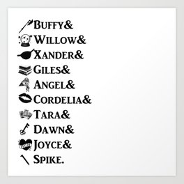 Buffy the Vampire Slayer Names Art Print