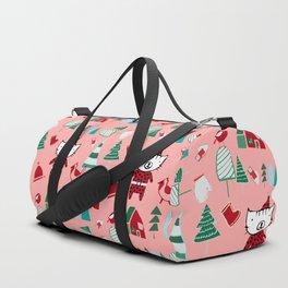 Cute Christmas cat pink Duffle Bag