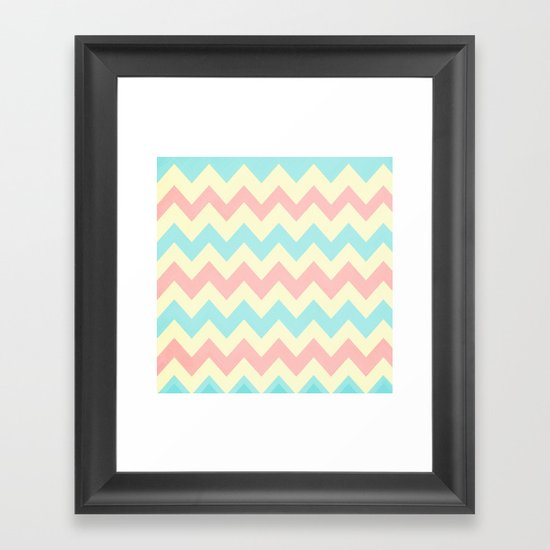 Summer Pink & Blue Chevron Framed Art Print