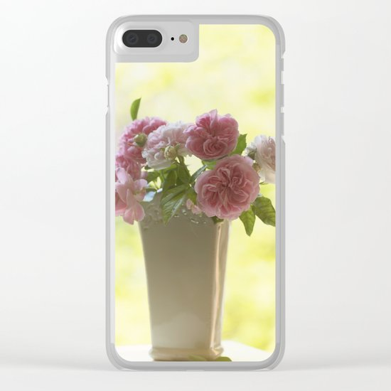 Pink English Roses in a vase- Vintage Rose Stilllife photography Clear iPhone Case