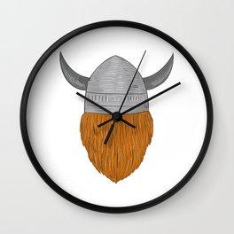 Viking Warrior Head Rear View Drawing Wall Clock