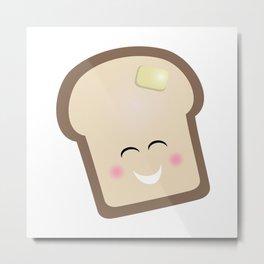 Toast, coffee, breakfast, happy, bread, butter, smile, cute Metal Print