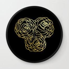 Gold Roses - Black BG Wall Clock