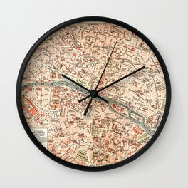Vintage Map of Paris Wall Clock