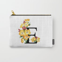 Letter 'E' Evening Primrose Flower Monogram Typography Carry-All Pouch