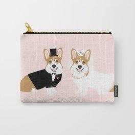 Corgi Bride and Groom - cute dog wedding, corgi wedding, dog, dogs, summer cute Carry-All Pouch