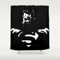 superman Shower Curtains featuring Superman by Denzalman