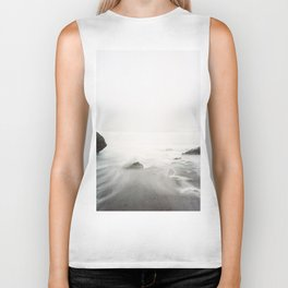 Long Exposure Waves (Black and White) Biker Tank