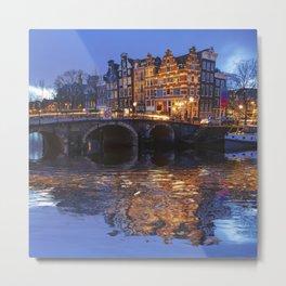 Papiermolensluis, Amsterdam, Netherlands ,Bridge Metal Print