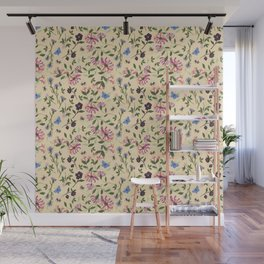 Honeysuckle, Bees and Hellebore Pattern Wall Mural