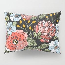 Retro Vintage Floral Arrangement On Black Background Pillow Sham