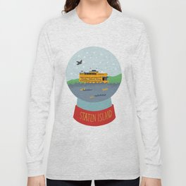 Staten Island Ferry, Snow globe, souvenir, new york city, nyc Long Sleeve T-shirt