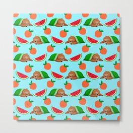 Cute funny sweet adorable sleeping dreaming baby sloths under a blanket, little peaches and red ripe summer tropical watermelons cartoon fantasy pastel blue pattern design Metal Print