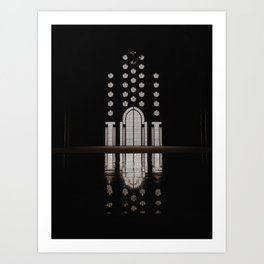 Islamic Architecture Inside Mausoleum Window Geometric Pattern Silhouette Mysterious Art Print