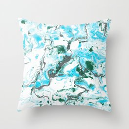 White and blue Marble texture acrylic Liquid paint art Throw Pillow