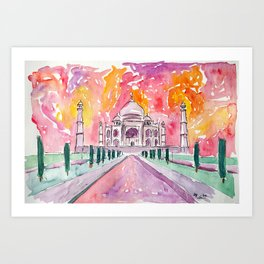 Taj Mahal - Colorful Crown of the Palace and Love Art Print