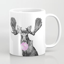 Bubble Gum Moose in Black and White Coffee Mug