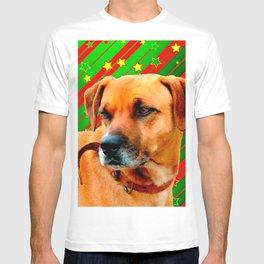 Brown Dog stars Red Yellow Green Christmas T-shirt