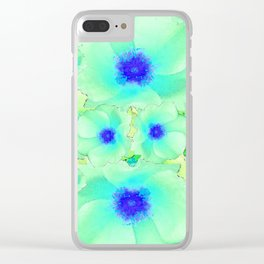 Celadon Jade Green-Blue Color Flower Pattern Clear iPhone Case