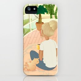 girl with cat relaxing at home looking out the window iPhone Case