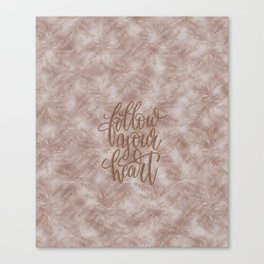 Vintage Palm Leaves Follow Your Heart Typography Canvas Print