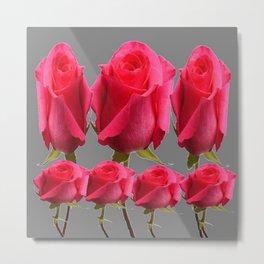 SEVEN PINK BUD ROSES ON GREY COLOR Metal Print