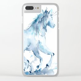 Watercolor Horse Galloping Clear iPhone Case