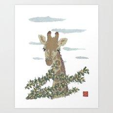 Giraffe, African Animal, Savanna, Safari, Wild Life Art Print