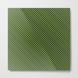 Greenery and Black Stripe Metal Print