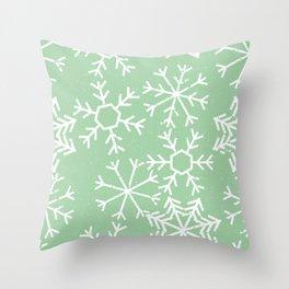 Contemporary Snowflakes Christmas Winter Pattern Throw Pillow