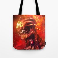 mars Tote Bags featuring Mars by Vincent Vernacatola