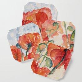 Salmon Orange Field of Poppies watercolour by CheyAnne Sexton Coaster