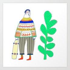 man and cactus. Art Print