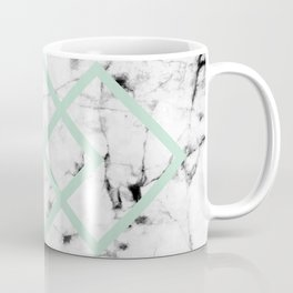 White Marble Concrete Look Mint Green Geometric Squares Coffee Mug