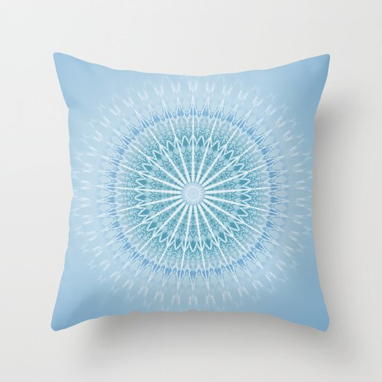 Blue Geometric Throw Pillows : Blue Geometric Mandala Throw Pillow by Baydur Mandalaart Society6